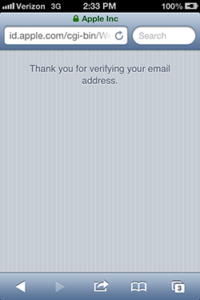 iPhone - Thank you for verifying your email notification
