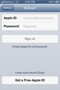 Apple ID Sign In Page