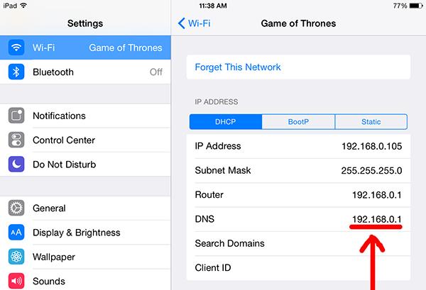 Wi-Fi settings on iPad and iPad Air tablets